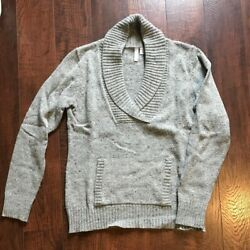 Relativity Wool Blend Sweater With Cowl V Neck