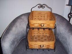 2008 Longaberger Classic Tapered Paper Tray Baskets 2 Tier Wrought Iron Stand