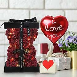 Red Rose Teddy Bear Flower Led Light Love Card In Box Gift For Valentineand039s Day