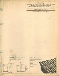John Deere Vintage B, Br And Bo Tractor Parts Manual Not Styled Pc-676