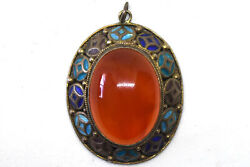 Vintage Chinese Silver And Natural Carnelian Enamel Pendant