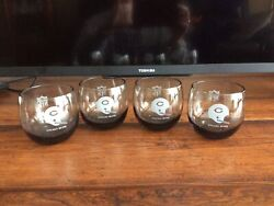 5 Vintage Nfl Chicago Bears Smoked Glass Low Ball Tumblers
