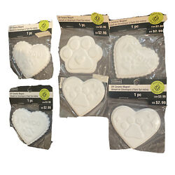 Lot 5 Pks Ceramic Do It Paint Yourself Diy Magnet Kitchen Dog Related Paws Heart