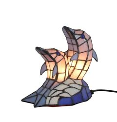Style Stained Glass Dolphin Table Lamp Night Accent Lighting Gifts Decor