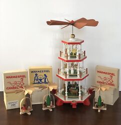 Bundle Of 4 Wooden Christmas Nativity Pyramid Windmill Carousel East Germany