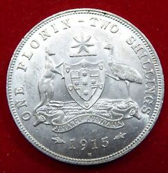 Australia 1915 H Florin. Well Struck Example. Rare In This Condition Aunc