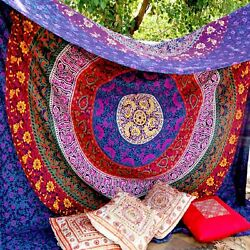 Hippie Wall Hangings Psychedelic Cotton Bedcover Handmade Tapestry Queen Decor