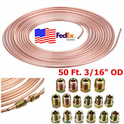 Roll Coil Of 3/16od Copper Nickel Brake Line Tubing Fittings+16x Gold Fittings