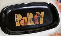 Vintage Black Couroc Party Snack Tray Dish - Outstanding Condition