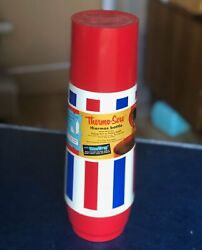 Vintage Red White And Blue Thermo Serv Thermos - Unused