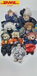 Lot Doll Antique Bisque German Head Sand Body Clown Family In The German Theater
