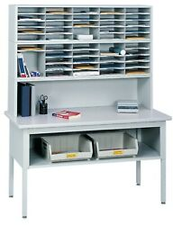 Office Mail Sorter With Metal Frame And Laminate Tabletop Office Mailroom Station