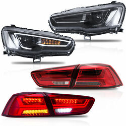 Customized All Black Headlights+red Clear Taillights For 08-17 Mitsubishi Lancer