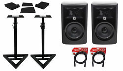 2 Jbl 306p Mkii 6 Powered Studio Reference Monitors+stands+pads+xlr Cables