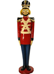 5' Red Christmas Toy Nutcracker Resin Statue Prop Display With Base