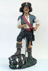 6.25' Life Size Funny Pirate With Barrel Resin Statue Prop Display