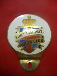 Rare 1950s Kings Highway Motor Club Plaque/badge Round