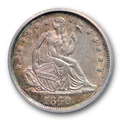 1840 H10c No Drapery Seated Liberty Half Dime Anacs Au 58 About Uncirculated ...