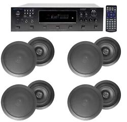 6000w 6 Zone, Home Theater Bluetooth Receiver+8 Black 6.5 Ceiling Speakers