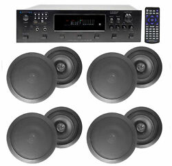 6000w 6 Zone, Home Theater Bluetooth Receiver+8 Black 8 Ceiling Speakers