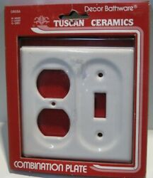 Nos Vintage Tuscan Ceramic Switch/outlet Cover Combination Plate - White D8056