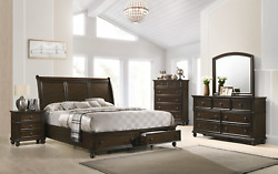 New Queen King Brown Sleighbed Setdresser Mirrornightstand Amish Traditional