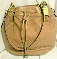Coach Madison Woven Leather Marielle Drawstring F22862 New Nwt Msrp 598 Le