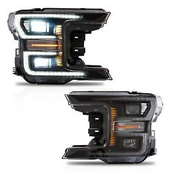 Customized Black Full Led Headlights W/ Sequential Turn Signal For 18-20 F-150