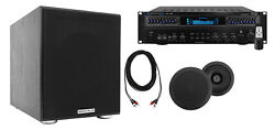 Technical Pro Home Theater Receiver+2 5.25 Black Ceiling Speakers+8 Subwoofer