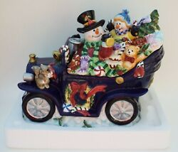 Omni Christmas Holiday Cookie Jar Snowman Couple In Blue Car Gifts Presents