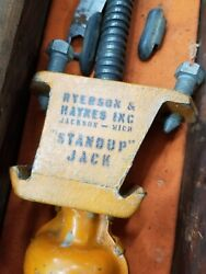 Antique Automotive Jack Ryerson And Haynes Stand Up Rare Find With Orig. Cloth Bag