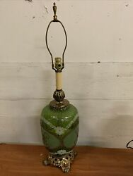 Vintage Lamp Green Glass With Golden Accents By Leviton