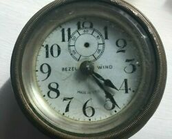 Early Antique Brass Dash Clock - Porcelain Face - Free Shipping - B4