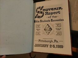X-rare 1919 Souvenir Convention Report Watchtower Bible Students Ibsa Leather