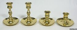 4 Baldwin Polished Bright Brass Short Candle Stick Holders
