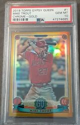 2019 Mike Trout Topps Gypsy Queen Gold Refractor 13/50 Psa Gem Mint 10