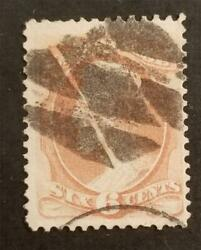 Fancy Cancel - Us Scott 186 6c Abraham Lincoln Stamp Used T6689
