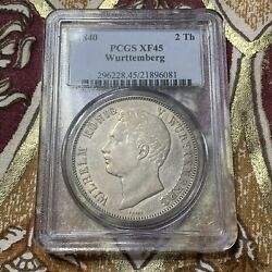 1840 German States Wurttemberg Silver 2 Thaler Pcgs Xf45. - A145