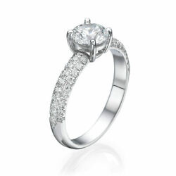 Womenand039s 14k White Gold Round Cut Diamond Engagement Ring 1.45 Ct H/si2