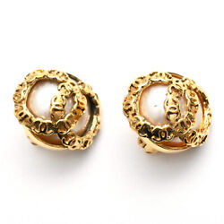 Coco Mark Pearl Earring 94p Gold P0868