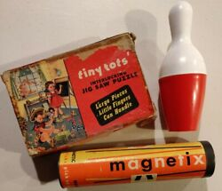 Lot Of Vintage Toys Games Bowling Magnet Pick Up Sticks Tiny Tots Puzzle1950s