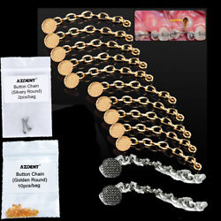 Dental Orthodontic Golden /silver Round Mesh Lingual Buttons Traction Chain