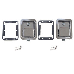 2x Yacht Rv Stainless Steel Paddle Lock Latch And Key For Tool Box Doors