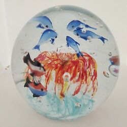 Murano Art Glass Paperweight Dolphins Seaworld Multicolor Controlled Bubbles
