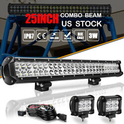 25inch Dual Row Led Light Bar Driving Offroad Spot Flood Combo Suv Ute + Wiring