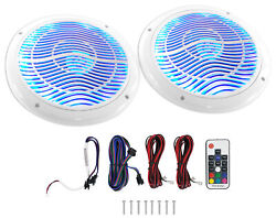 Rockville Rmc65lw 6.5 600w 2-way White Marine Speakers W/multi Color Led+remote