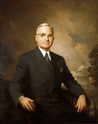 Oil Painting Handpainted On Canvas Presidential Portrait Of Harry Truman