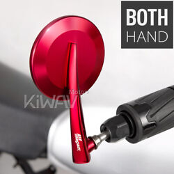 Magazi Orient Red Convex 7/8 Bar End Rear View Side Mirrors Pair Fits Bmw