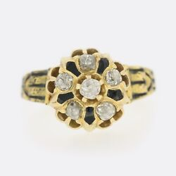 Gold Diamond Ring - Victorian Diamond And Enamel Mourning Ring 18ct Yellow Gold