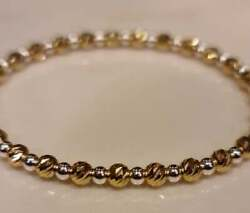Solid 14k Yellow Gold/sterling Silver Faceted Bar Cut 4mm/3mm Beaded Bracelet